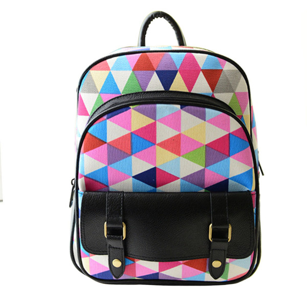 grxjy5204170 fashion rainbow grid canvas backpack. Black Bedroom Furniture Sets. Home Design Ideas