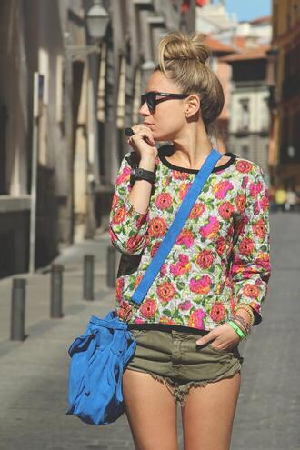 shorts green shorts sweater green brown fashion tendency bottom rose floral colorful sunglasses high waisted shorts
