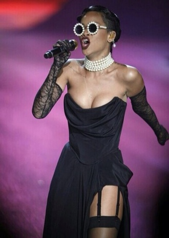 sunglasses concert rihanna jewels pearl dress