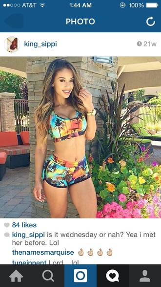 shorts top two-piece tropical summer crop tops workout swimwear bikini cute swimsuit floral swimwear multicolor