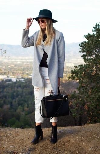 devon rachel blogger coat jeans top shoes hat bag jewels