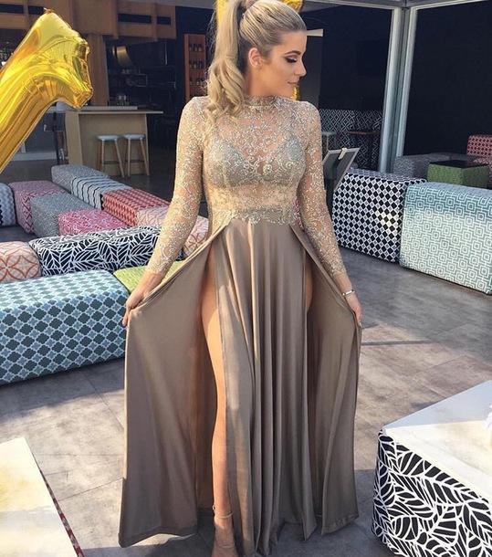 dress, prom, evening dress, long evening dress, slit dress, double ...