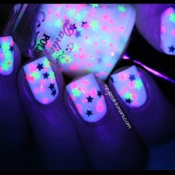 nail polish, nails, stars, glow in the dark, glow in the dark ...
