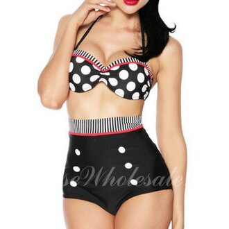 swimwear polka dots bikini two piece swimwear