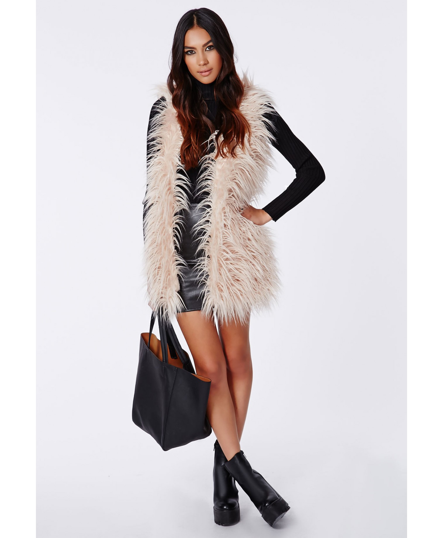 Missguided - Jenifer Faux Fur Gilet Nude