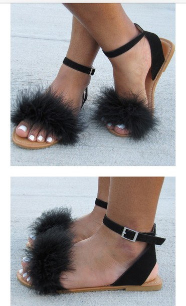 6dcd207ba9f shoes yen gang black fluffy sandals fluffy sandals furry sandals flat  sandals black sandals