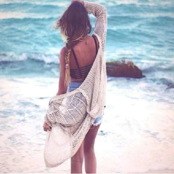 cardigan cream knitted cardigan shorts sweater jacket tank top beige oversized sweater underwear swimwear shirt bralette black bralette knitted cardigan cream summer beach cool