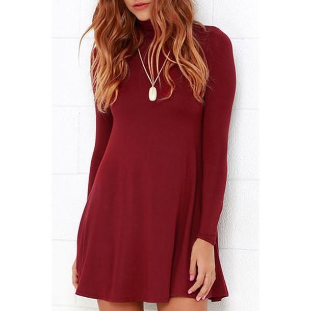 569203180449 dress burgundy fall dress rose wholesale skater dress fall outfits casual  cute boho chic necklace boho