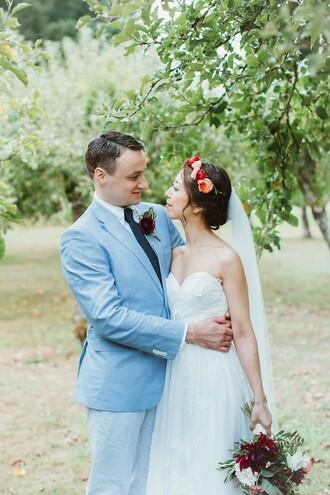 bklyn bride blogger rustic wedding chic flower crown wedding dress mens suit