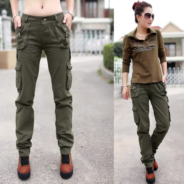 Online Shop Women's army cargo pants Straight pants trousers ...