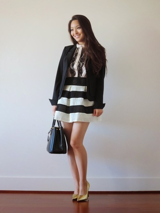 jacket blogger bag sensible stylista black and white striped skirt striped shirt stripes tailoring gold heels