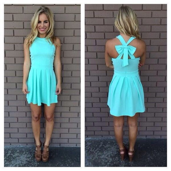 dress short blue blue dress cute aqua cross back cross back dress