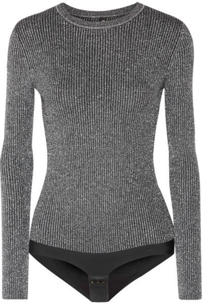 Tuxe Bodywear bodysuit metallic silver knit underwear