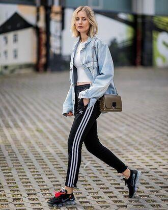 pants shirt top crop tops adidas addidas pants bag white top sneakers
