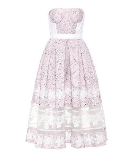 Huishan Zhang Wool and silk lace dress in pink