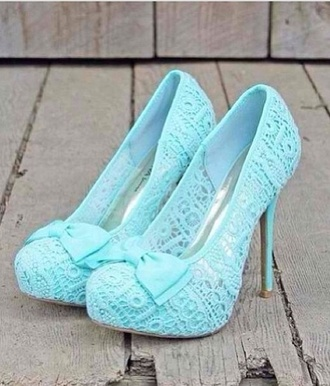 shoes blue light blue ribbon heels cute perfect girly