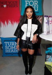 jacket,boots,over the knee boots,Angela Simmons,fashion week 2014,shoes