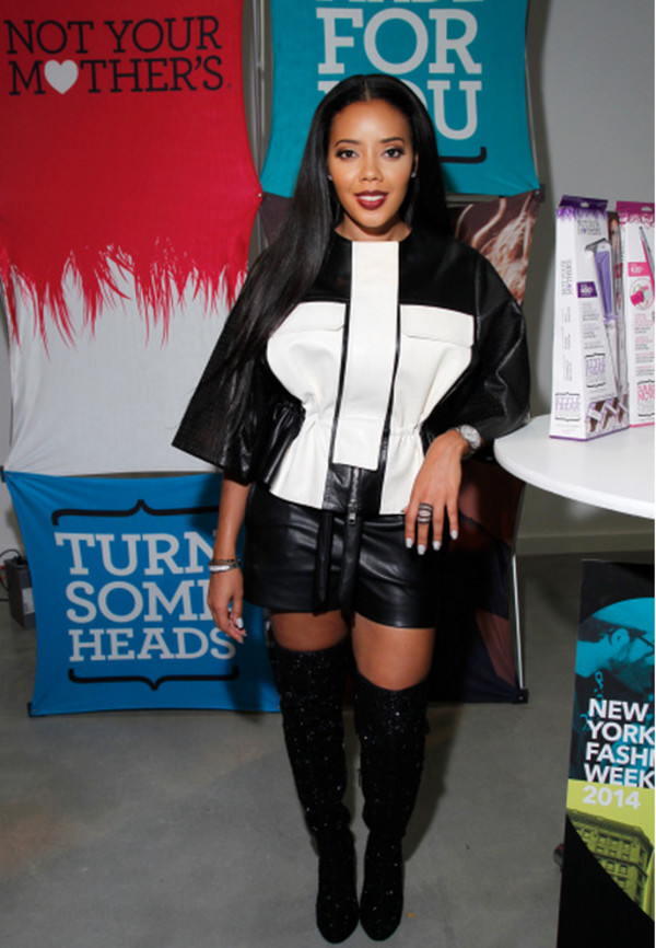 jacket boots over the knee boots Angela Simmons fashion week 2014 shoes