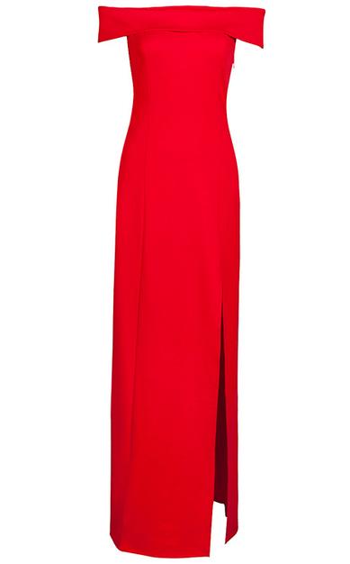 Bardot Slit Evening Bandage Dress Red