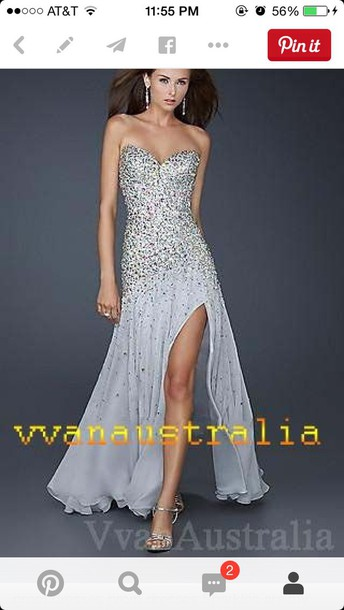 dress prom dress prom dress prom gown slit dress sparkly dress silver dress