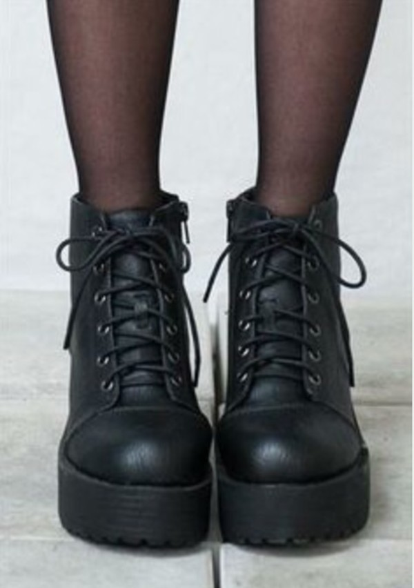 Shoes Grunge Boots Combat Boots Black Hipster Punk