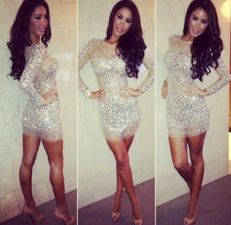 dress vegas white dress glitter dress sparkly dress prom dress sequin dress sparkle glitter sleeveless short long sleeves stones sequins diamonds gold sequins gold dress party dress birthday dress bodycon dress mini dress going out dress nude gold glitter shoes prom beige pretty homecoming nude dress celebrity dress 2014 homecoming dress