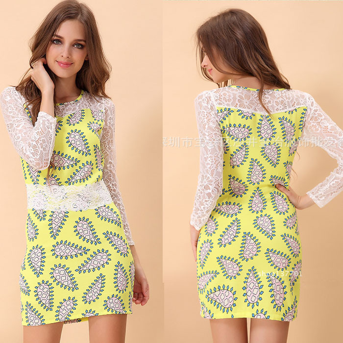 Casual Dress Seconds Kill Dr0286 New 2014 Spring Women's Printed Pattern Long-sleeved Lace Dress Bottoming Girl free Shipping | Amazing Shoes UK