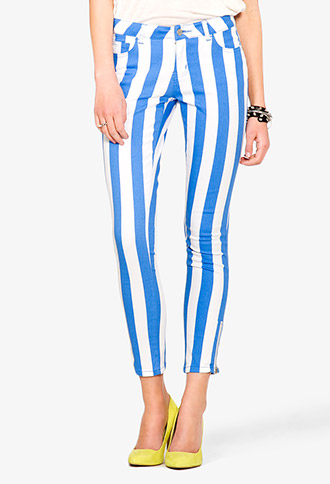 Verticle Stripe Skinny Jeans | FOREVER 21 - 2024959699