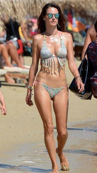 swimwear bikini bikini top bikini bottoms alessandra ambrosio summer beach fringe bikini