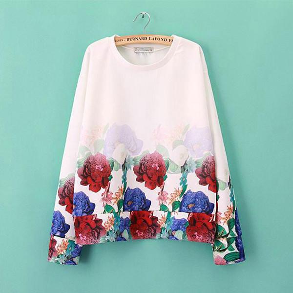 sweatshirt floral loose tops