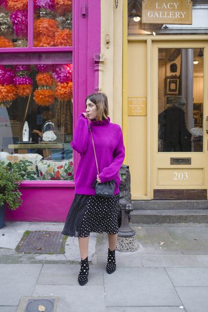 sweater tumblr purple purple sweater turtleneck turtleneck sweater skirt midi skirt polka dots boots ankle boots bag black bag