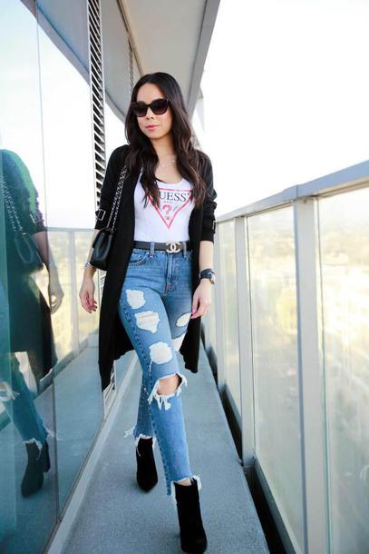 hautepinkpretty blogger coat jeans sunglasses jewels shoes belt bag