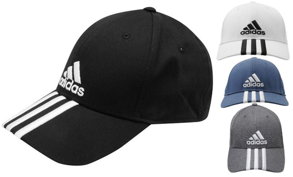 adidas Perforated 3 Striped Baseball Cap Golf Tennis Sports Hat ... 875593e5631