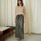 Adele - button down leather skirt - kombu green