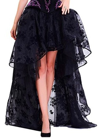 shirt sheer lace skirt wiccan witch victorian vampire high low skirt