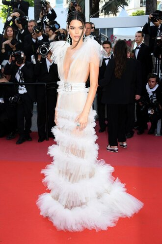 dress ruffle ruffle dress white white dress wedding dress kendall jenner kardashians red carpet dress red carpet long dress gown prom dress cannes shoes