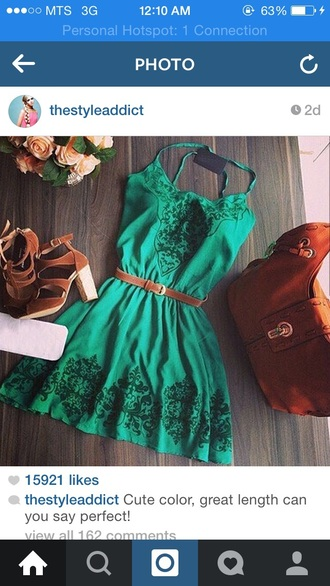 dress green lace short
