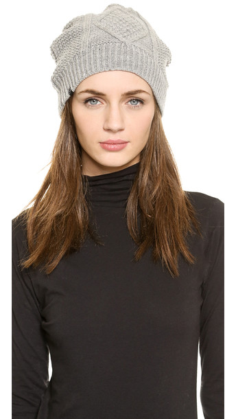 Plush Cable Knit Fleece Lined Beanie - Heather Grey