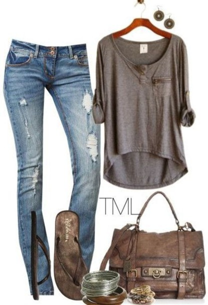 shirt lazy day comfortable outfit hipster grey shirt grey top grey pocket t-shirt cotton pants blouse bag