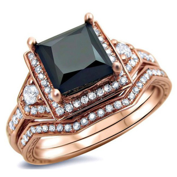 jewels evolees evoleescom gorgeous rose gold plated sterling silver princess cut black diamond engagement - Sterling Silver Diamond Wedding Ring Sets