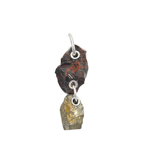 Proenza Schouler Double Stone Mono Earring in brown / silver
