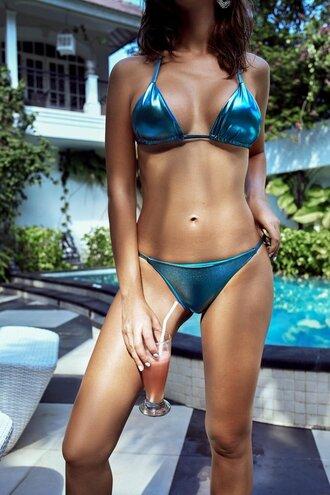 swimwear bikini low cut bikini bottom karma bikinis metallic traingle top sustainable bikini