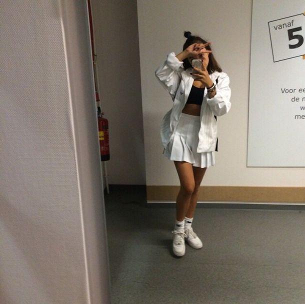 coat, black and white, skater skirt