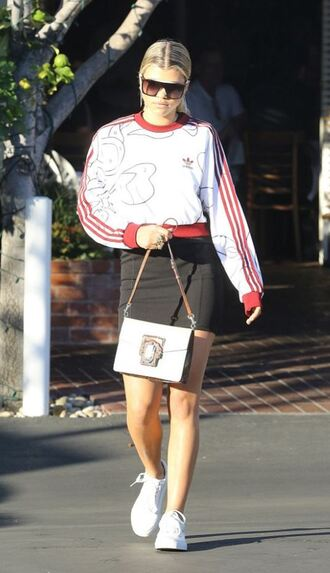 sweater sweatshirt cropped sweater sneakers skirt sofia richie streetstyle