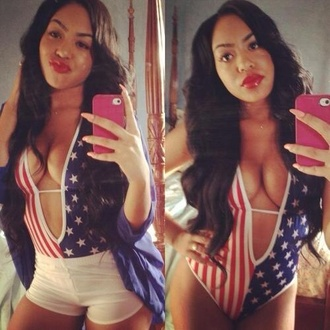 swimwear monokini cut-out patriotic american flag gorgeous