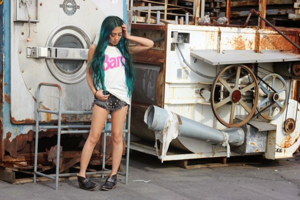 the river wolf blogger tank top barbie graphic tee studded shorts shorts shoes