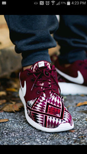 shoes,sneakers,nike,nike roshe run,nike running shoes,belt,nike shoes,nike roshe run running shoes,running shoes,roshes,roshe runs,jacket,socks,nike burgundy,pattern shoes,nike sneakers,burgundy,burgundy shoes,blue,blue shoes,sports shoes,tribal pattern,nike roshe tribal blue,aztec,aztec shoes,aztec nikes