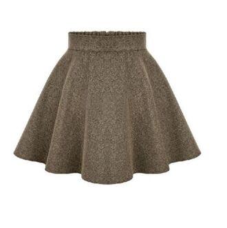 skirt brown skirt brown mini skirt mini skater skirt brown skater skirt brown mini elastic waist back zipper www.ustrendy.com