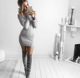 shoes grey over the knee boots