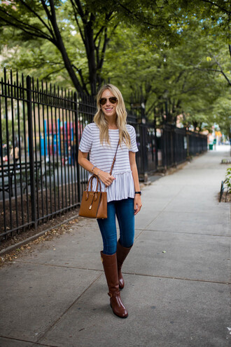 katie's bliss - a personal style blog based in nyc blogger t-shirt shoes jeans bag jewels sunglasses crossbody bag fall outfits boots fall boots striped top